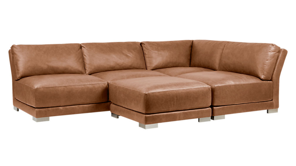 gybson brown leather sectional sofa cb2