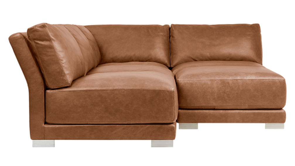 Gybson 4 piece brown leather sectional sofa cb2 for Cb2 leather sectional