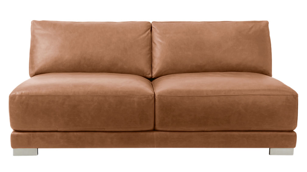 gybson brown leather loveseat