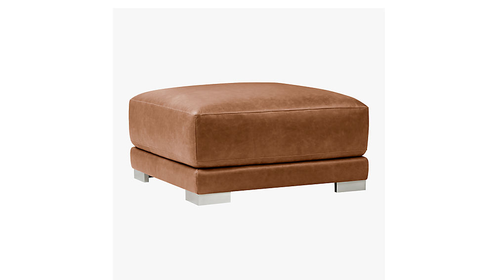 gybson brown leather ottoman