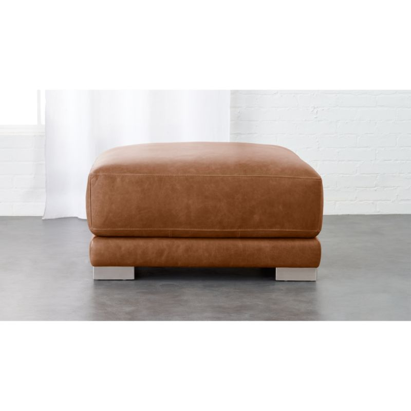 gybson leather ottoman CB2