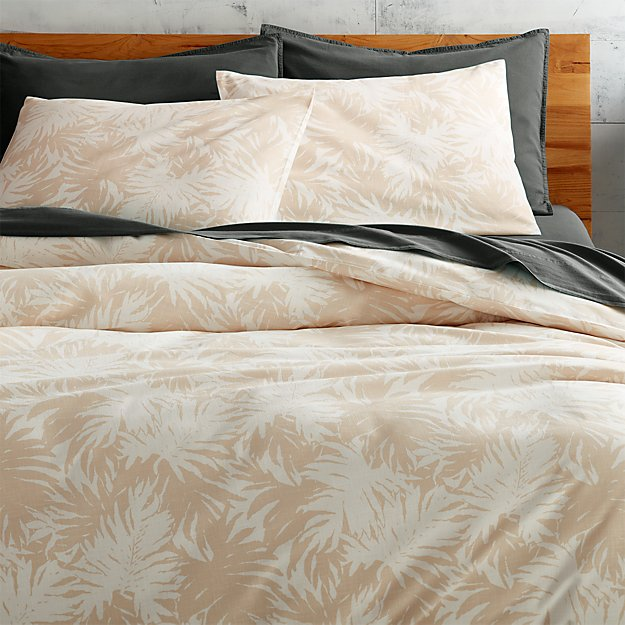 The Hill-Side palm leaves natural king duvet cover