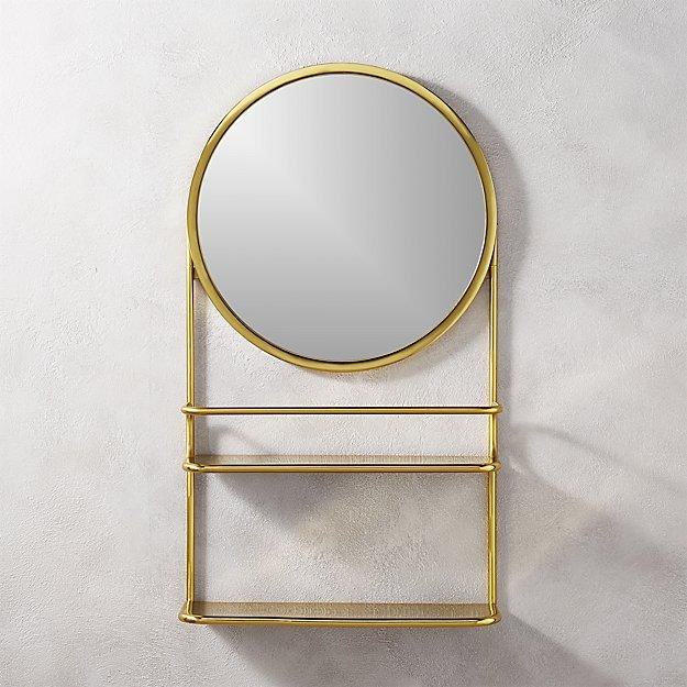 half court brass shelf with mirror