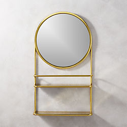 half court brass shelf with mirror
