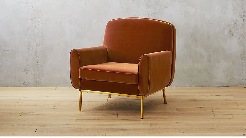 Halo Orange Velvet Armchair Reviews Cb2