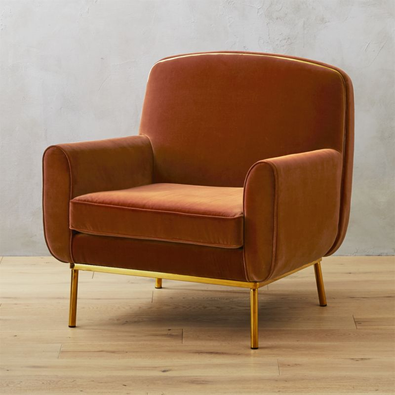 halo orange velvet armchair cb2. Black Bedroom Furniture Sets. Home Design Ideas