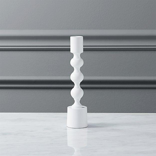 halo matte white taper candle holder.