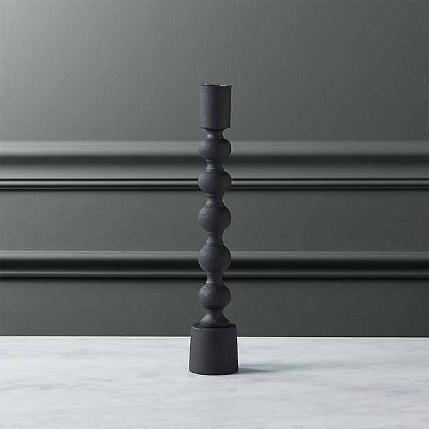 halo matte black taper candle holder