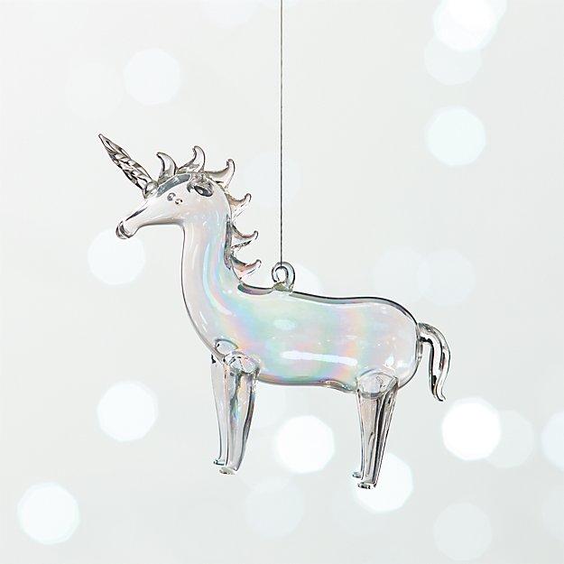 Unicorn Luster Handblown Glass Ornament