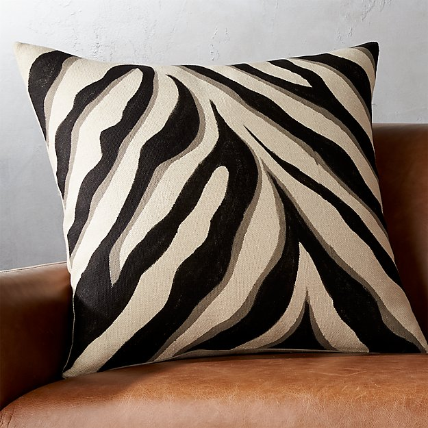 "23"" Handpainted Zebra Print Pillow with Down-Alternative Insert"