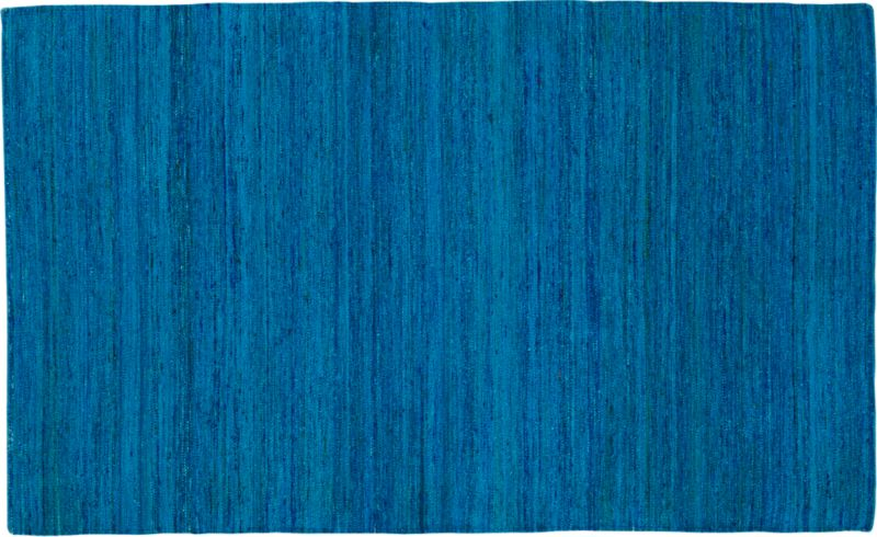 handwoven recycled sari blue rug 5'x8'