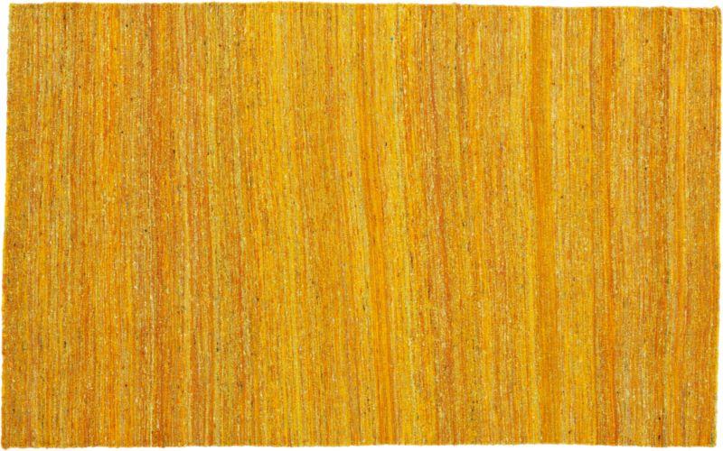 handwoven recycled sari silk yellow rug 5'x8'