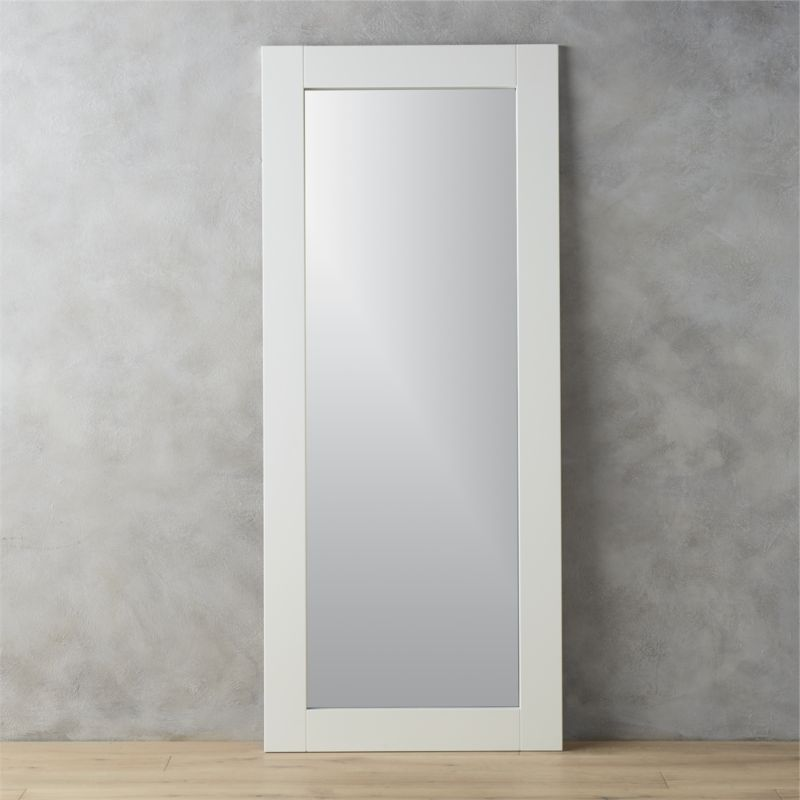 32x76 leaning white floor mirror in mirrors reviews cb2 for Standing glass mirror