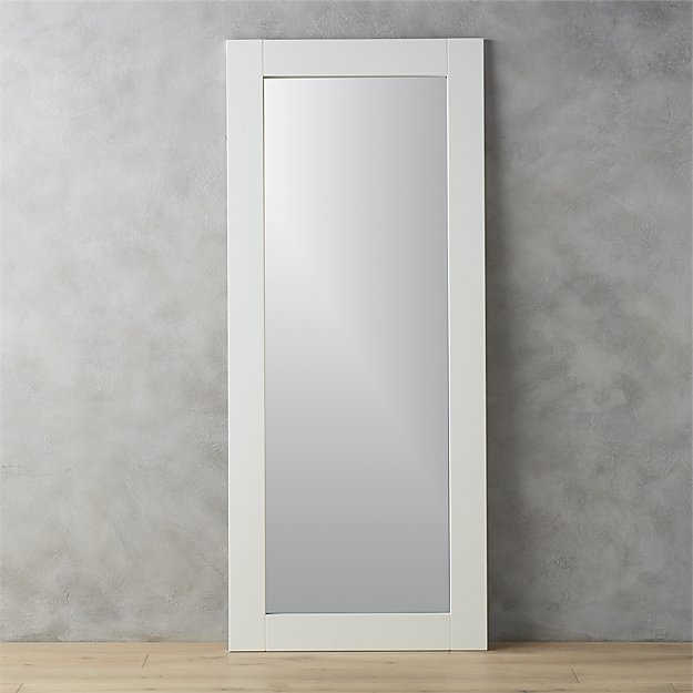 32x76 leaning white floor mirror cb2 for Leaning wall mirror