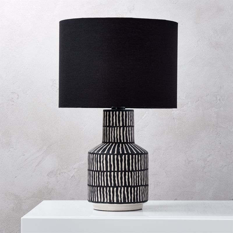Modern table lamps cb2 hatch black and white table lamp aloadofball Image collections
