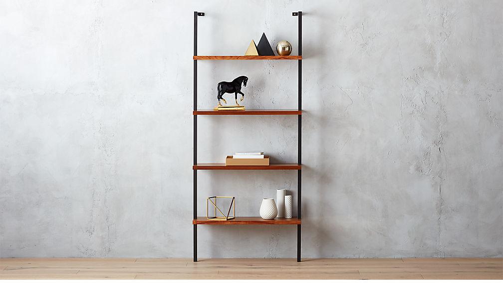 Helix Acacia Wall Mounted Bookcase Reviews Cb2