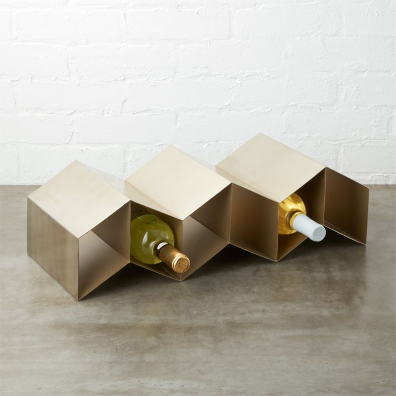 Herringbone Gold Wine Rack Reviews Cb2