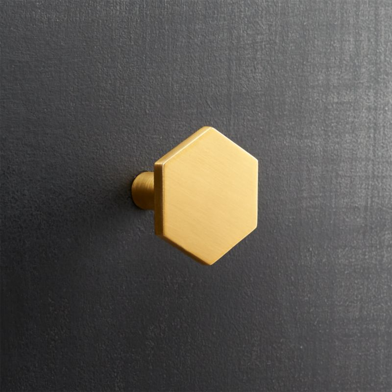 Hex Brushed Brass Knob Reviews Cb2