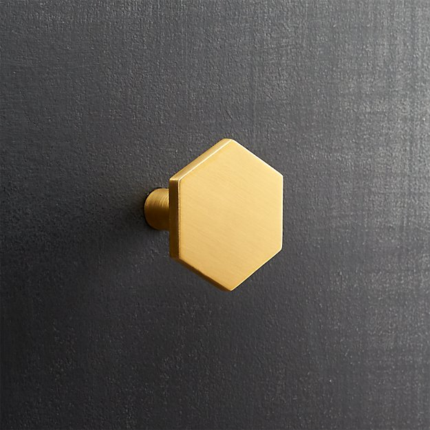 hex brushed brass knob