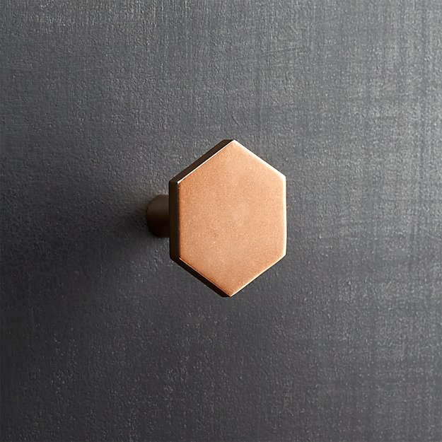hex shiny copper drawer pull