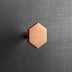hex shiny copper knob