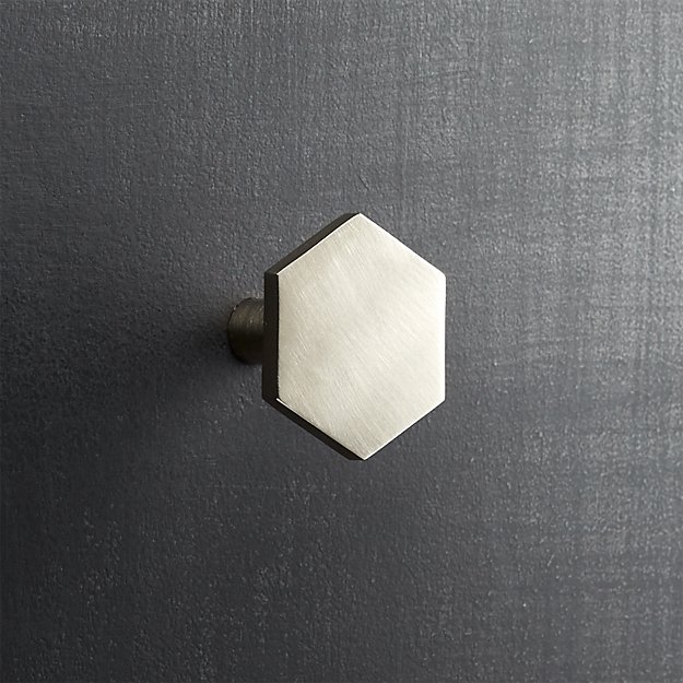 hex brushed nickel drawer pull
