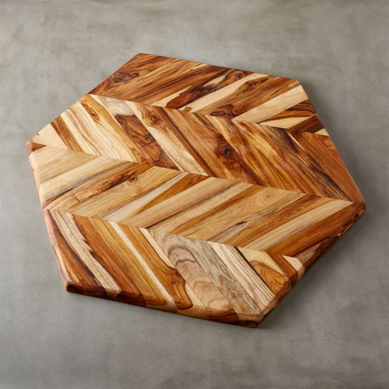 Teak Wood Pieces ~ Hex teak wood large serving board in pieces