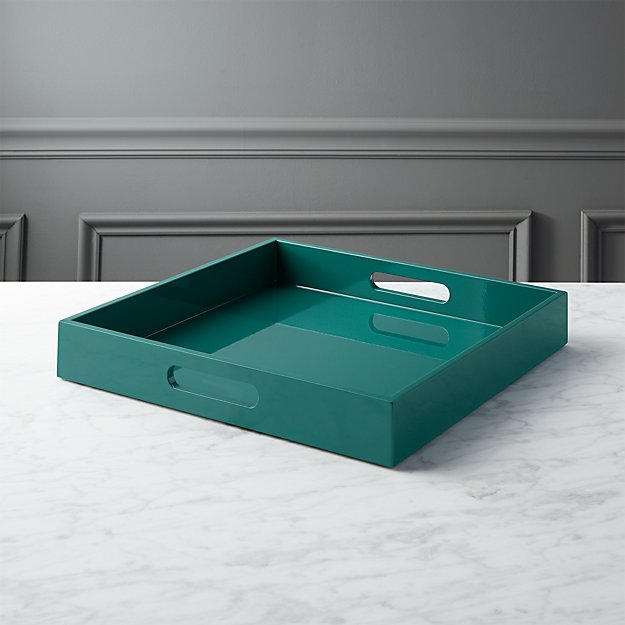 hi-gloss square blue green tray