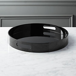 hi-gloss round black tray