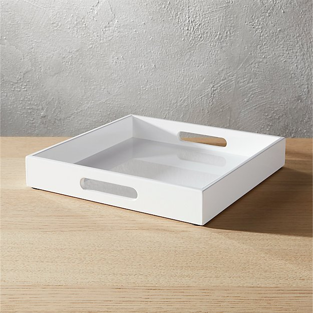 hi-gloss small square white tray