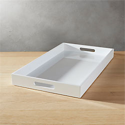 hi-gloss rectangular white tray