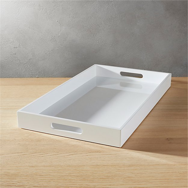 Hi Gloss White Rectangular Serving Tray In Serving Pieces