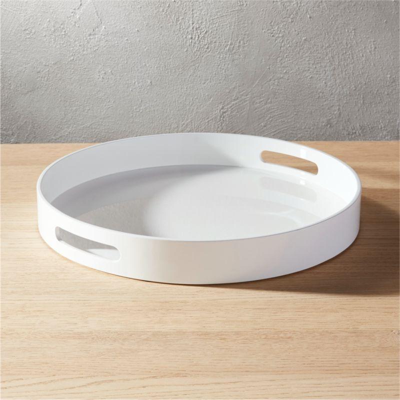 Hi Gloss Round White Tray Reviews Cb2