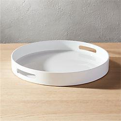 hi-gloss round white tray