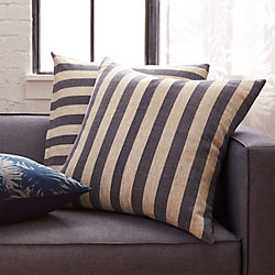 "23"" The Hill-Side grey and navy stripes pillow"