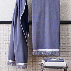 The Hill-Side selvedge navy bath towels