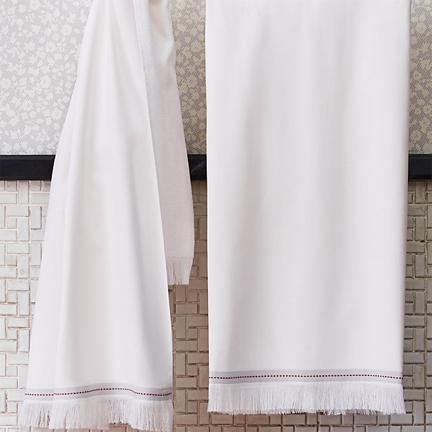 The Hill-Side selvedge white bath towel.
