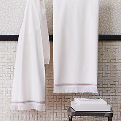 The Hill-Side selvedge white bath towels
