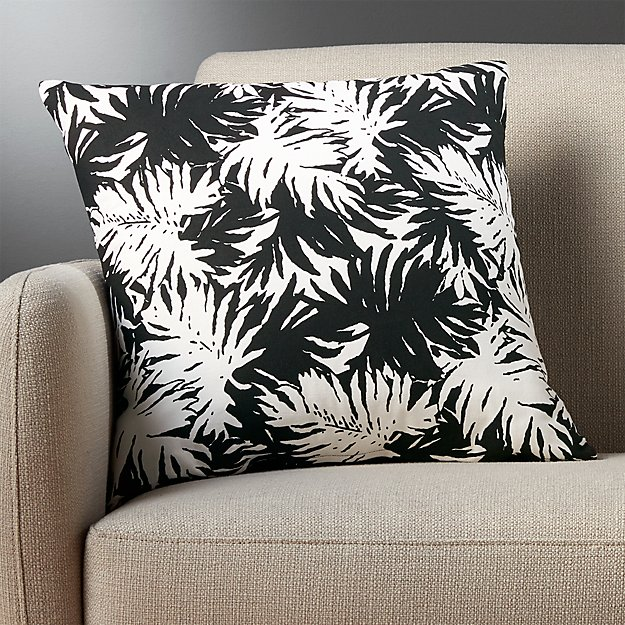 "18"" the hill-side palm leaves black and white pillow with feather-down insert"