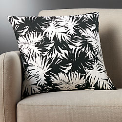 "18"" the hill-side palm leaves black and white pillow"