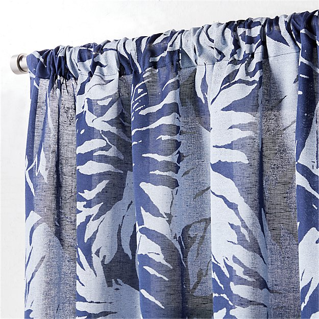 "the hill-side palm leaves sheer navy curtain panel 48""x108"""