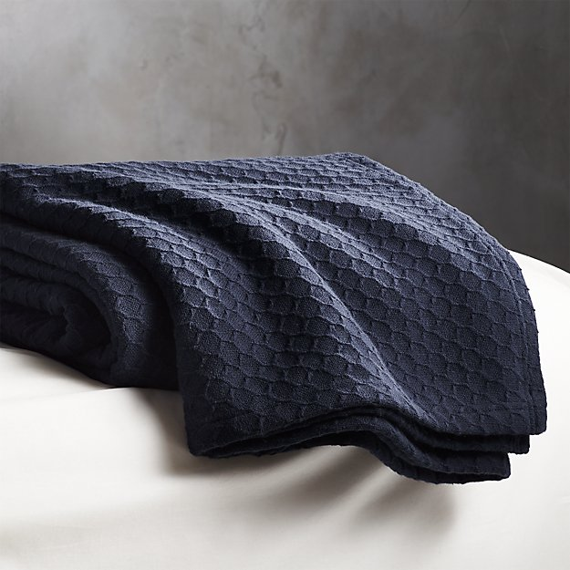 Hive Blue Waffle Weave Blanket Full/Queen