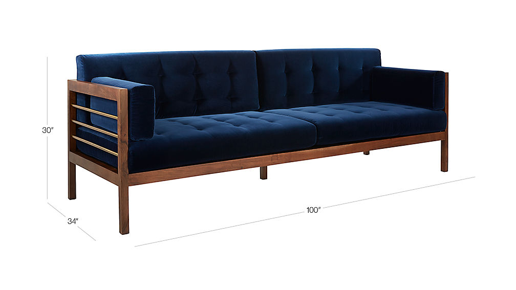 Hollywood Midnight Blue Velvet Sofa Cb2