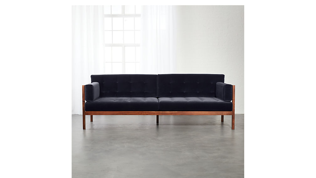 Hollywood Midnight Blue Velvet Sofa In Sofas Reviews Cb2