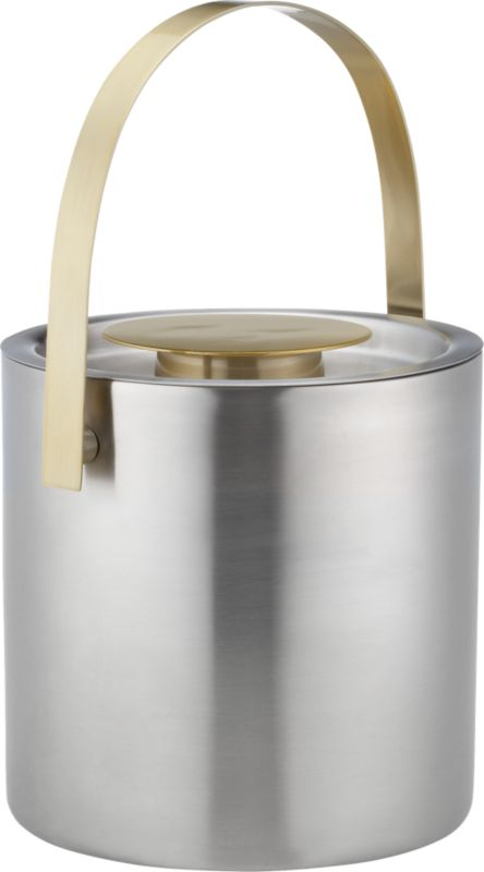 brushed stainless steel and gold ice bucket