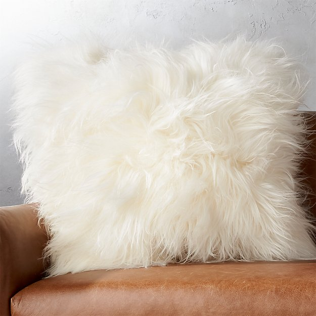 "23"" Icelandic Sheepskin Pillow with Feather-Down Insert"