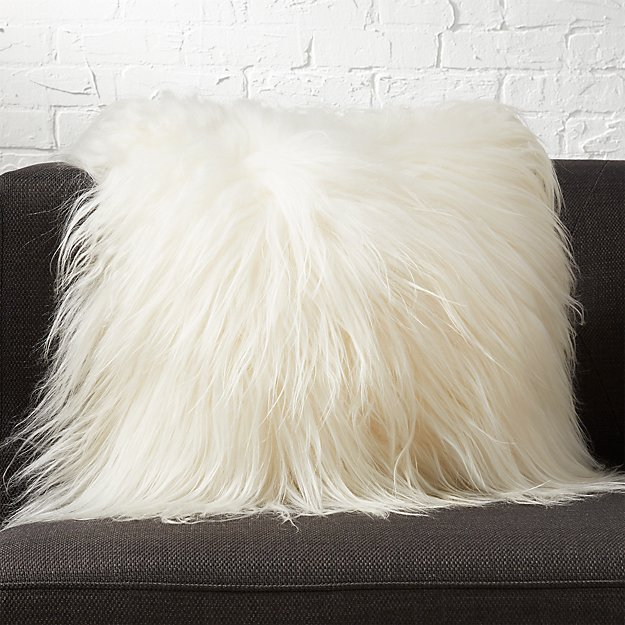 "16"" icelandic sheepskin pillow with down alternative insert"