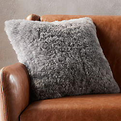 "16"" icelandic shorn sheepskin grey pillow with feather-down insert"