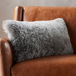 "23""x11"" icelandic shorn sheepskin grey pillow with feather-down insert"
