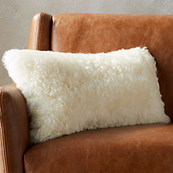 "23""x11"" icelandic shorn sheepskin pillow with feather-down insert"